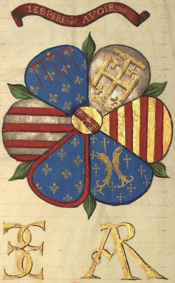 J'ESPERE AVOIR -- Armes d'Antoine le Bon, duc de Lorraine : chaque pétale porte un des quartiers qui constituent les grandes armes (f°93v). -- «Heures d'Antoine le Bon, duc de Lorraine», 1533 [BNF, NAL 302]. -- (de gauche à droite, puis en bas) royaumes de Hongrie, Naples, Jérusalem et Aragon, puis duchés d'Anjou et de Bar. Sur le tout, Lorraine.