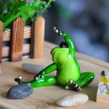 Yoga rana figurine decorazione in miniatura in resina artigianato objetos de decoração creativo artesanias cina kawaii yoga rana figurine
