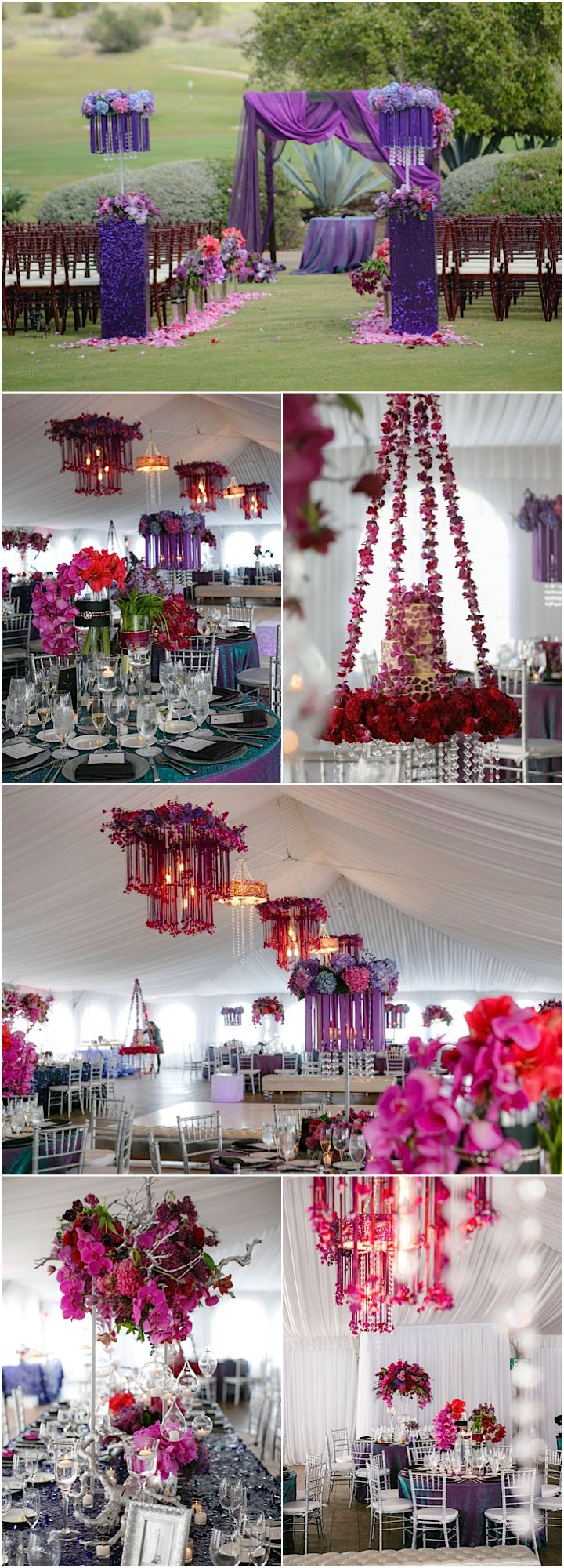 wedding locations north california%0A Featured Photographer  Joseph Matthew Photography  purple wedding reception  details