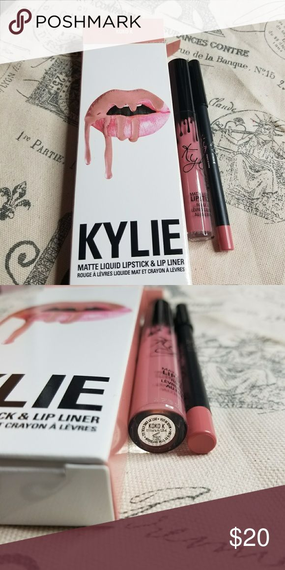 Kylie matte koko k lipkit Brand new in box, I have the full email I will print and send, smells like cake batter or like a vanilla scent. Super yummy smelling. This is AUTHENTIC and was purchased from Kylies website myself, I've just not used it so no point in keeping it around if I won't use it. I have watermarked my photos with makeupaddictashlee to avoid scammers using them. Kylie Cosmetics Makeup