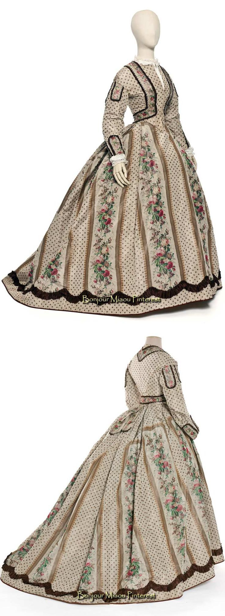 Afternoon dress, 1860. Silk taffeta, two pieces. Photos: Jean Tholance. Les Arts Décoratifs and Europeana Fashion