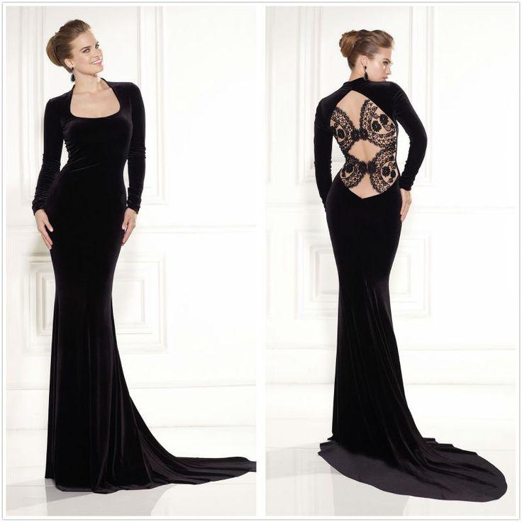 Long black velvet dress long sleeve