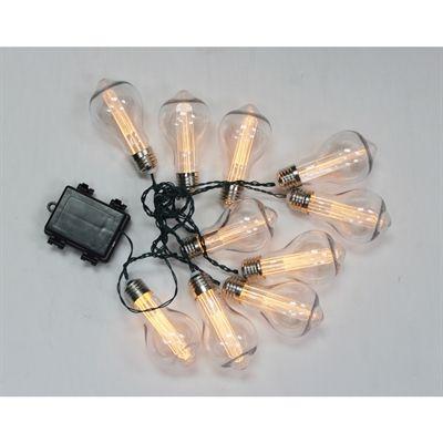 10-Light Battery Operated White Edison String Lights