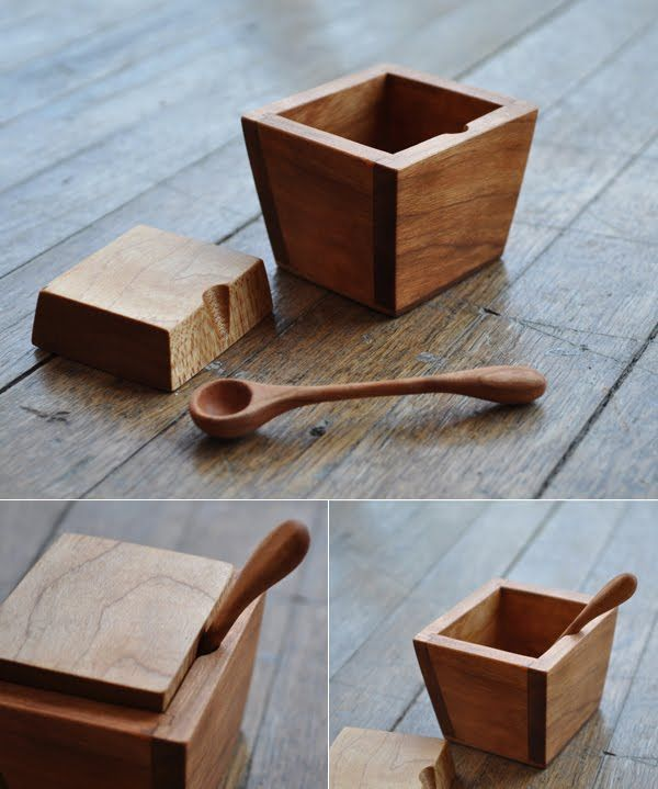 Mortero de madera con forma cuadrada. // Robust yet delicate #cocina #wood: Diy Ideas, Salts Boxes, Crafts Ideas, Salts Cellar, Food Storage, Wood Boxes, Boxes Food, Diy Projects, Dogs Food