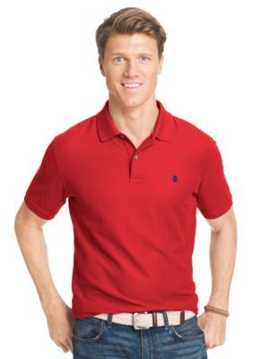 IZOD Real Red Short Sleeve Solid Stretch Advantage Pique Polo Shirt