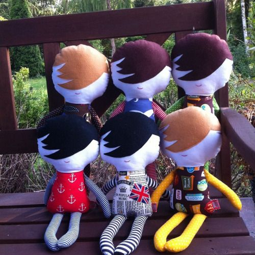 Here there are: West End Boys, These gents are almost ready to go. Available tonight Hola Lotta Etsy store!   #fabricdoll #ragdoll #dolls #handmade  #cuddletoy #forboys #dolls
