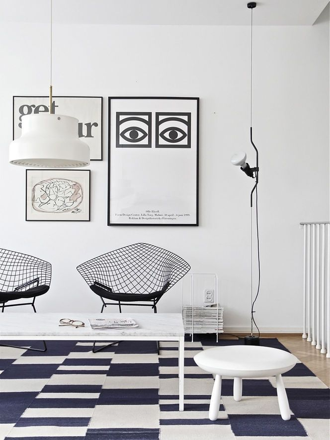 Pair Of Bertoia Diamond Chairs With Geometric Rug From Timeoftheaquarius ·  Bedroom DecorDesign BedroomInterior Design Living ...