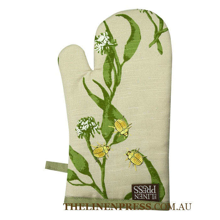 #Eucalyptus & Christmas Beetle single mitt made with certified unbleached #organic cotton. Screen printed with water based dyes. Repeat print with machine embroidery detail. Our packaging uses recycled board and is printed with soy inks. $12.95 #ecofriendly #australia #kitchen #decor #ovenmitt #gifts