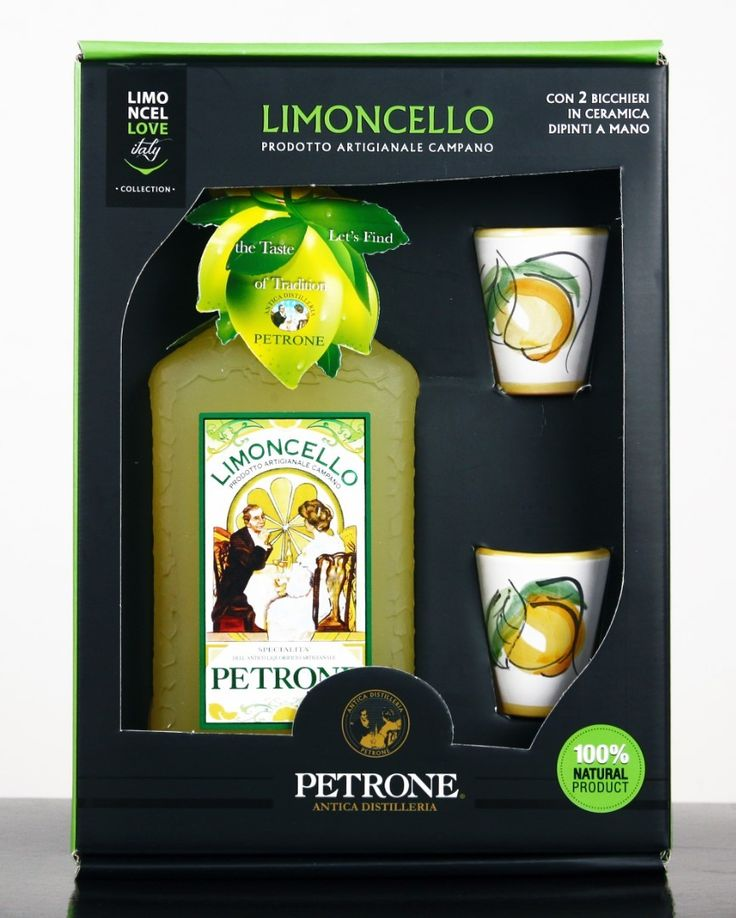 """PETRONE LEMON LIQUEUR """"LIMONCELLO"""" 70cl AND TWO CERAMIC CUPS FROM VIETRI Gift box composed by a bottle of limoncello Ancient Distillery Petrone with 2 ceramics cups of Vietri sul Mare hand-painted. Ideal as a gift. The Campania limoncello is born from the infusion of the peels of the best lemons in pure 100% alcohol.  Alcohol content: 33 ° Serve cold after meals. Packaging: stylized box with a glass bottle by 70cl and two ceramic cups #Titaly"""