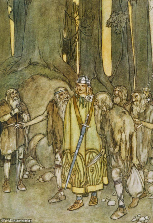 Fionn mac Cumhaill comes to aid the Fianna, illustration by Stephen Reid.
