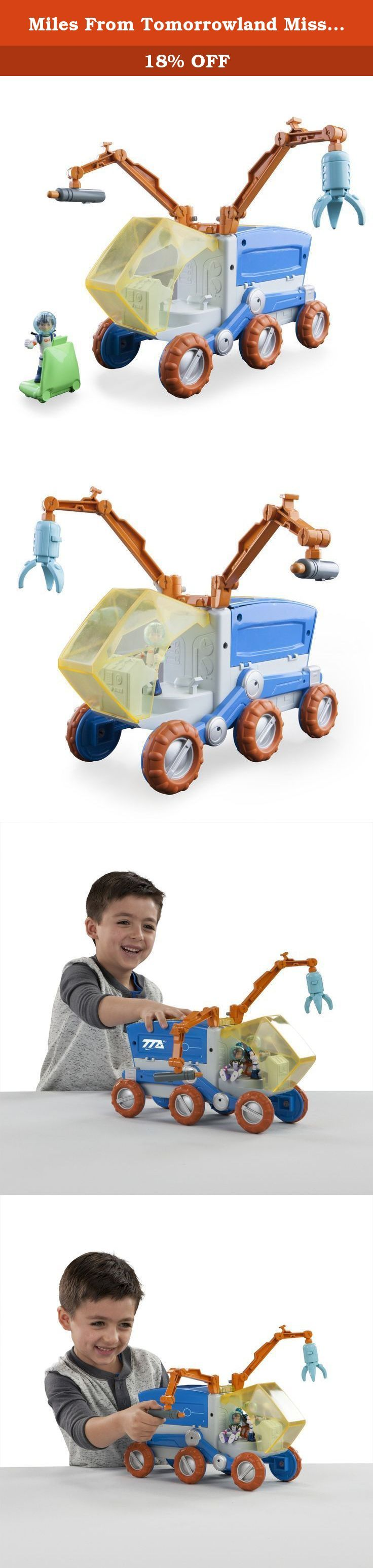 Miles From Tomorrowland Mission Rover. Miles and his friends are all part of the Cosmic Explorers who use the Mission Rover as a mobile space lab. Onces the Cosmic Explorers reach their destination they can open up the back of the Mission Rover to reveal the mobile space lab. Inside the lab, Leo can give Miles missions with the touch of a button. To help Miles complete any mission the Rover has 2 Robotic Arms that can be moved to different locations on the vehicle to blast away obstacles...