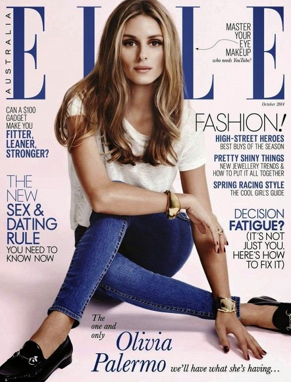 Olivia Palermo poses on the cover of ELLE Australia's October issue.