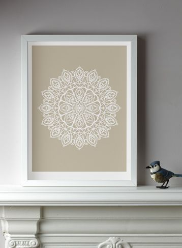 doily print- I have so many of these from relatives who have passed. Neat idea to put them to use!
