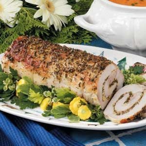 Herb stuffed pork loin