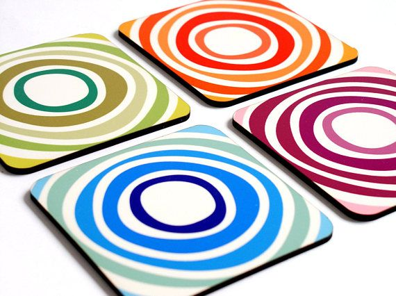 Coaster set,set of 4,Colorful coasters,Drink coasters,Kitchen Table coasters,table decor,home decor,housewarming gift