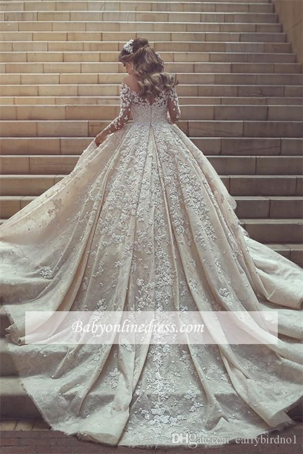 Discount 2018 New Gorgeous Sheer Neck Lace Wedding Dresses Long Train Long Sleeves Crystals Ruffles Appliques Tulle Wedding Dresses Backless Wedding Dress Expensive Wedding Dresses From Earlybirdno1, $226.15  DHgate.Com