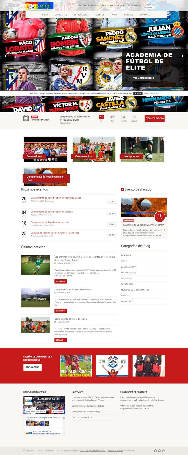 Diseño de la página web de ATFFE, Academia de Tecnificación y Formación de Fútbol de España.  La página web se compone de varias secciones (quiénes somos, contacto, noticias) entre las que destaca una sección de eventos con información detallada e integrada en diferentes espacios del portal y una galería con sus entrenadores.