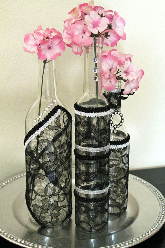 SET(3)- Decorated Wine Bottle Centerpiece Black Lace, White & Silver. Wine Bottle Decor. Wedding Table Centerpieces. Centerpiece Ideas