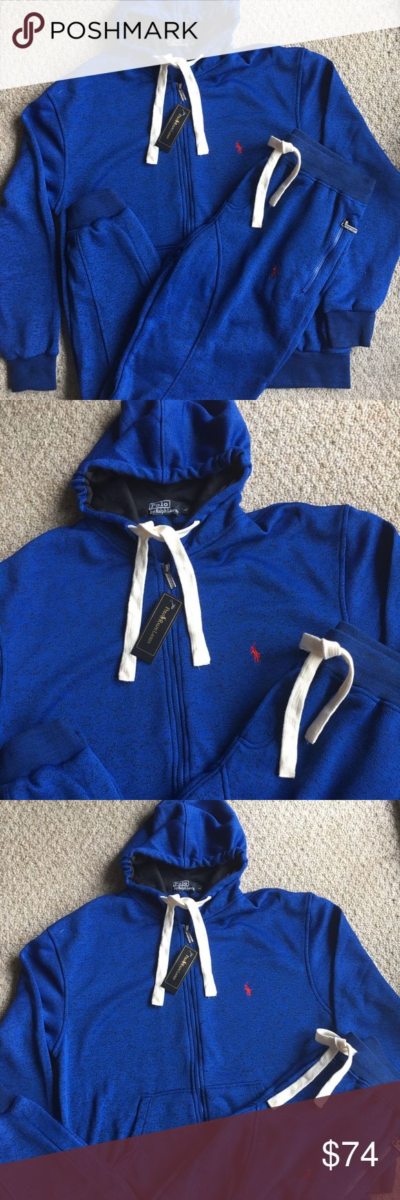 New Men's Ralph Lauren Polo Hoodie Sweatpants Set Brand new with tags. Blue with Red polo stitch. Elastic fitted Joggers with Zipped Hoodie. Great deal! Polo by Ralph Lauren Shirts Sweatshirts & Hoodies