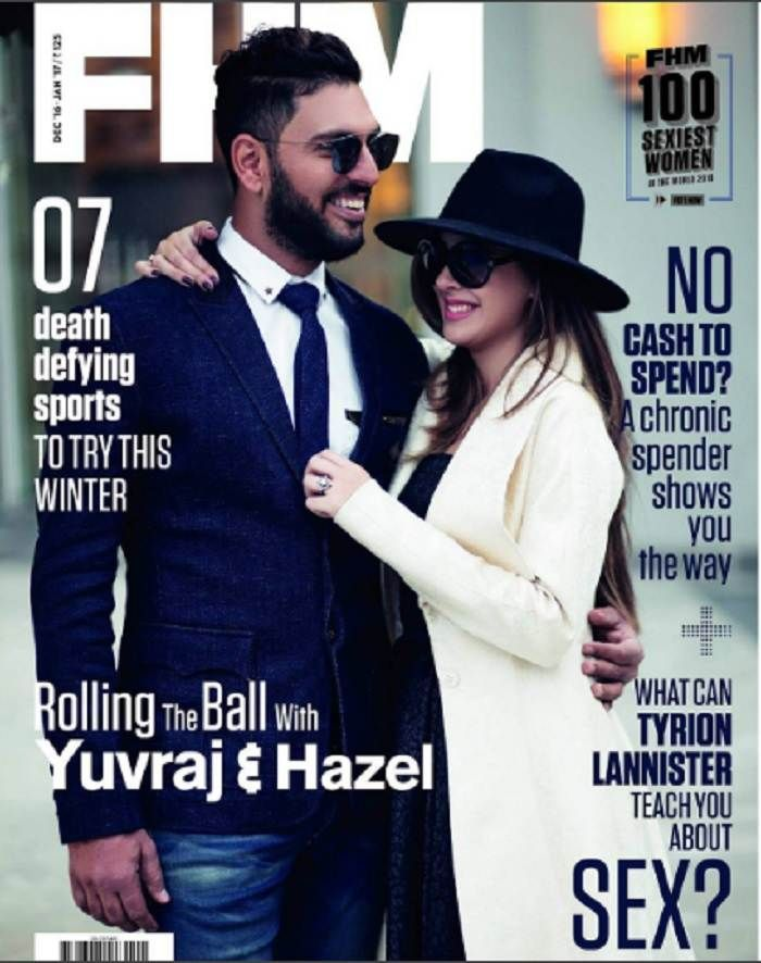Yuvraj Singh and Hazel Keech on the Coverpage of FHM Magazine