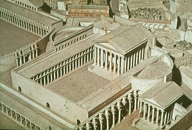 Forum of Augustus - Caesar continued to work on town planning. The space is rectangular with 2 covered hemicycles. It had corinthian column and caryatids.  It also contained art and statues. It was built in memory of Caesar.
