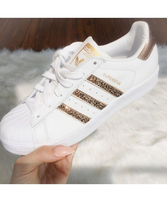 sneakers for cheap 7694a 7a820 Adidas Superstar White Trainers with Rose Gold Swarovski UK Clearance