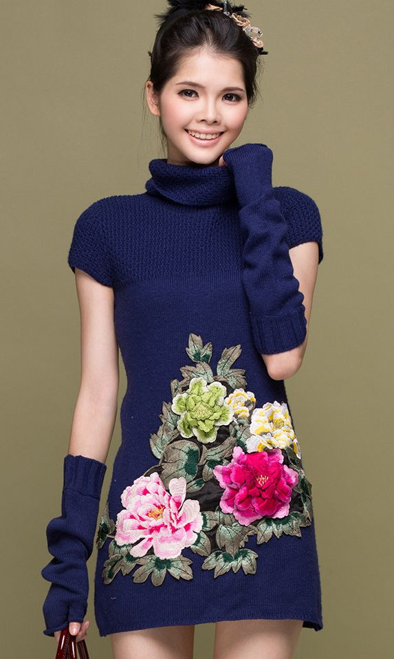 Slim-fit peony print knit tube collar dress