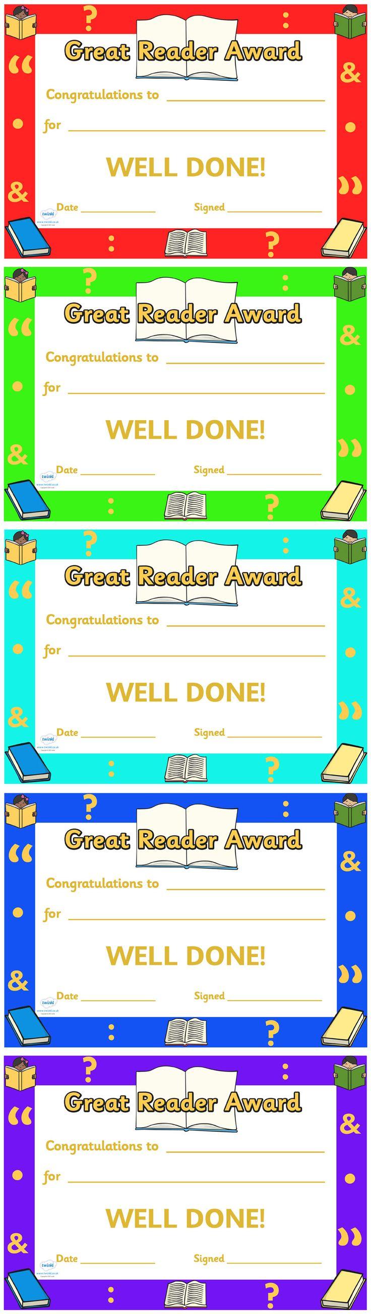 twinkl resources  u0026gt  u0026gt  great reader award certificate