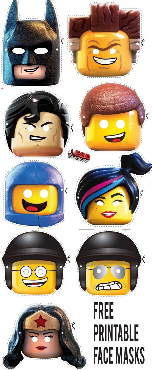 Free LEGO Movie Mini Figure Character Printable Face Masks
