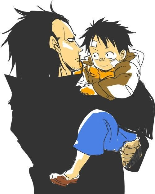 Monkey D. Dragon and Luffy. Why have I never seen this one before? It's so cute. ^w^
