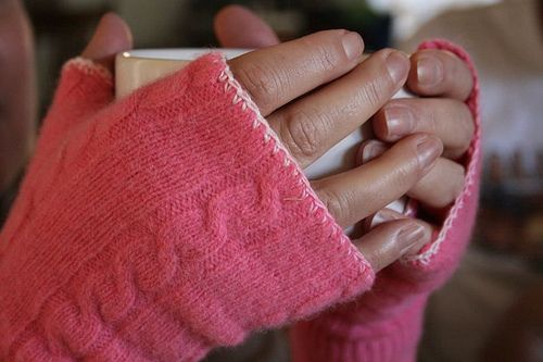 Use old sweater sleeves to make fingerless gloves. Perfect for that shrunken cashmere sweater.
