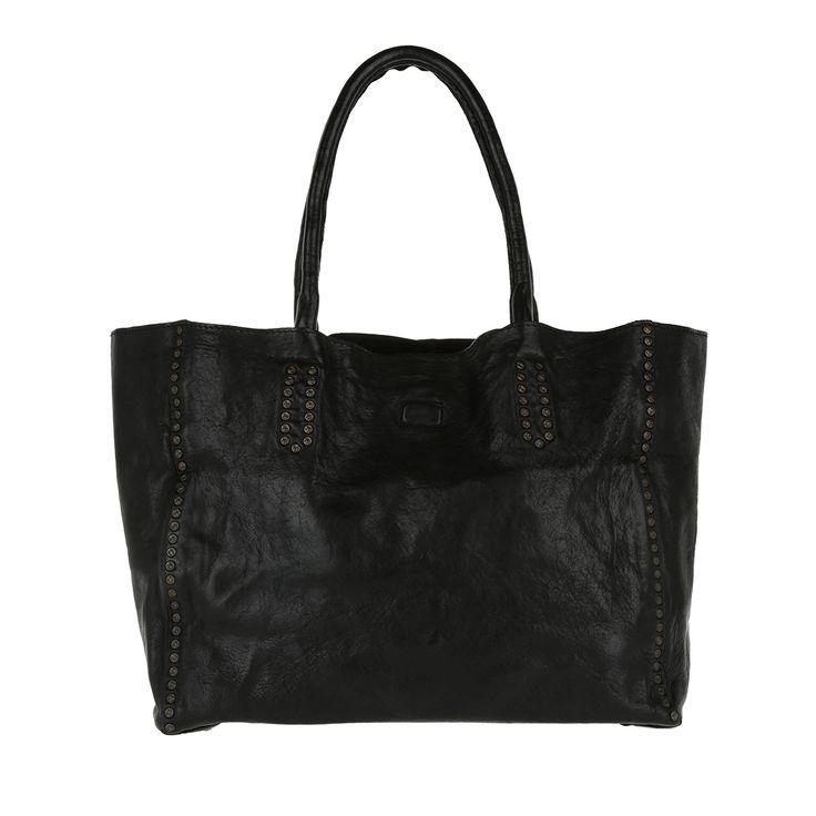 Handtasche, Campomaggi, Shopping Bag Media Rivet Vachette Nero