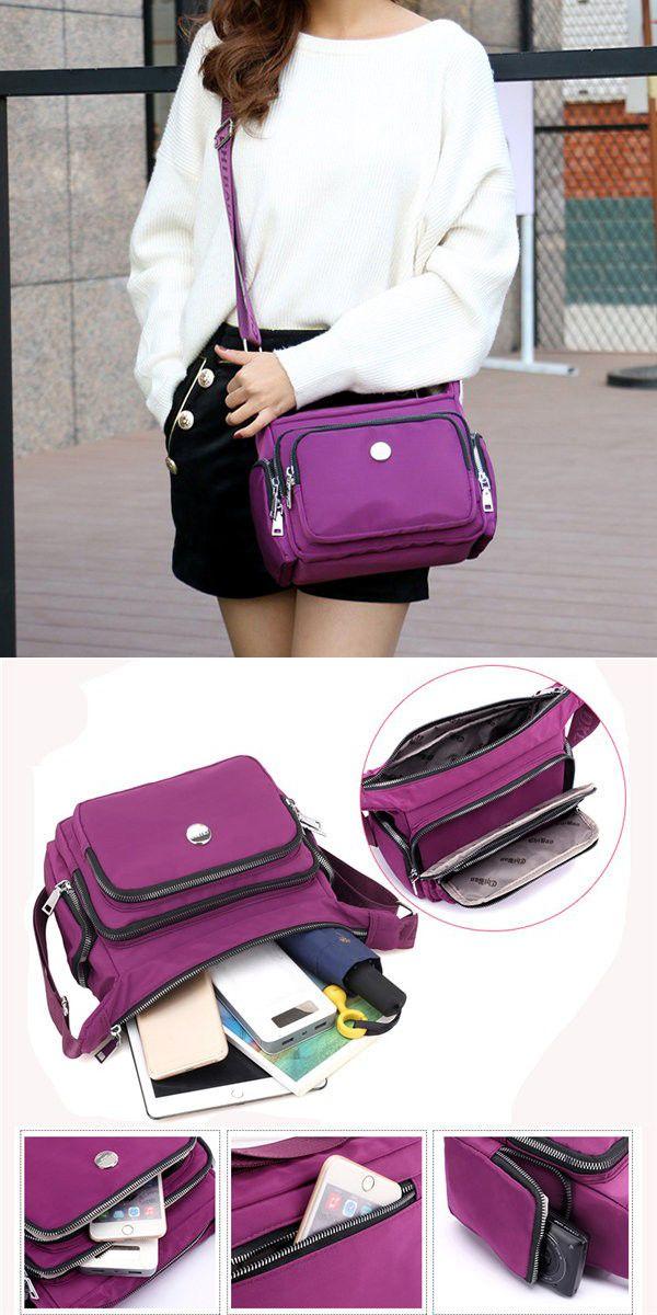 936fa80b50e2 Women Nylon Casual Multi-pockets Shoulder Bag Crossbody Bags in 2018 ...