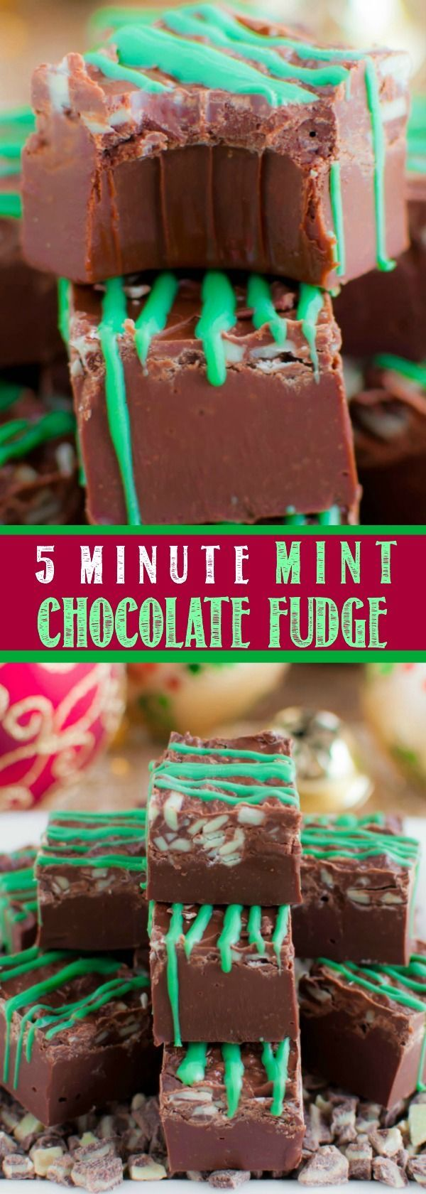 BEST EVER 5 Minute Mint Chocolate Fudge! So easy, and perfect for Christmas time! It's smooth and creamy, rich and chocolatey, cool and minty - so delicious!!
