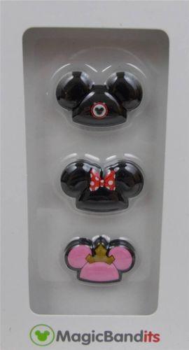 Disney-Parks-Magic-Band-Bandits-Mikey-Minnie-Ear-Hats-Wrist-Charms-Set-of-3-New
