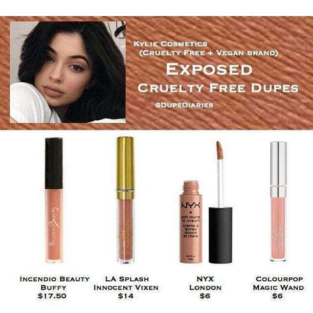 Dupe Diaries  Kylie Cosmetics exposed dupes  incendio beauty la splash innocent vixen nyx london colourpop magic wand cruelty free dupe