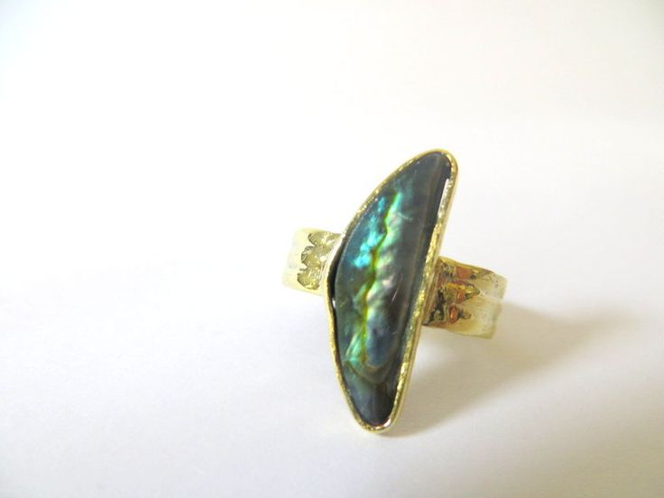 Abalone & brass half moon ring by Picossa on Etsy