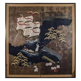 Meiji Period Namban Screen Depicting Portuguese Seamen