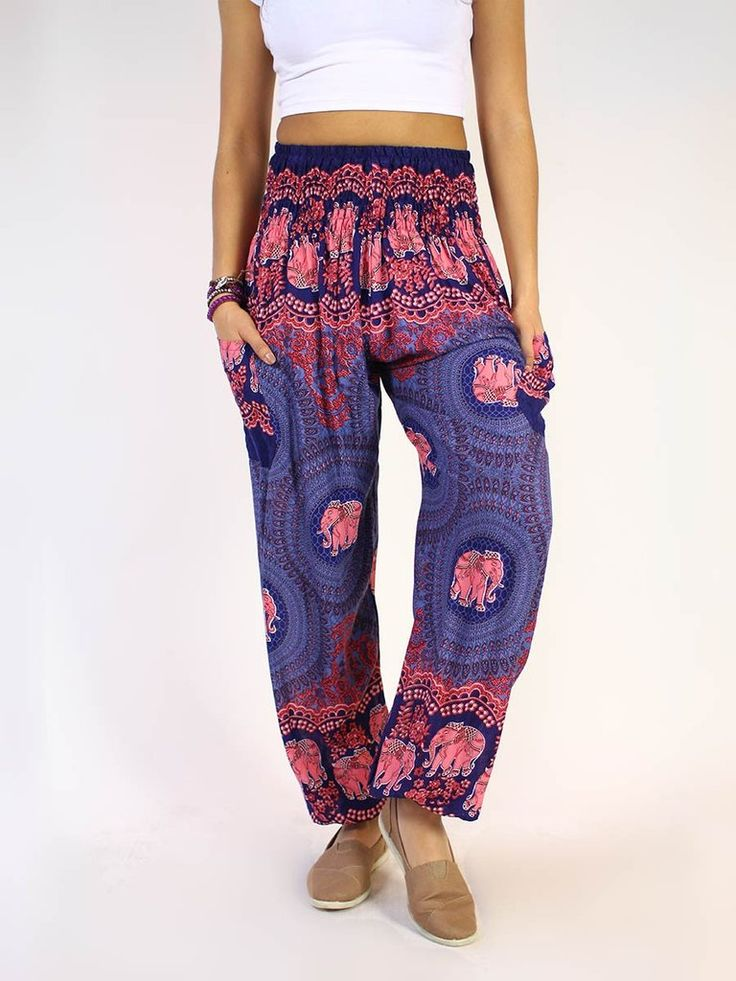 Turn heads in our Nellie Dark Blue harem pants. These loose-fit, lightweight pants are sure to become your new favorites. - Dark blue and pink women's thai elephant harem pants - Comfortable - great f