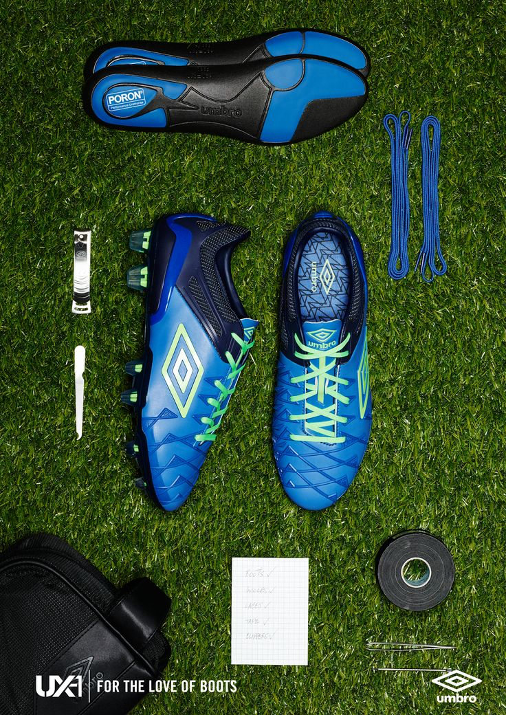 Things organised neatly – beautiful boot imagery from Umbro.