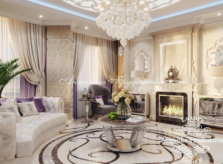 Каминная полка с часами в стиле ретро. Декор гостиной с камином