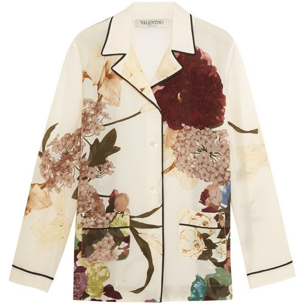 Valentino Floral-print silk crepe de chine shirt (18.877.425 IDR) ❤ liked on Polyvore featuring tops, shirts, valentino, white, silk top, colorful shirts, silk shirt, white floral shirt and multi color shirt