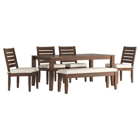 parkview 6pc rectangle wood patio dining set w cushions inspire q rh pinterest com