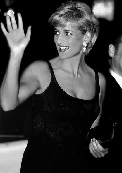 "12 February 1997: Diana, Princess of Wales attending the ""Love and War"" premiere at Odeon at Leicester Square, London."