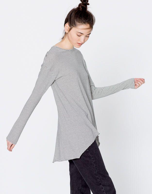 Pull&Bear - donna - abbigliamento - magliette - maglietta a righe apertura orlo - beige - 09239346-I2016