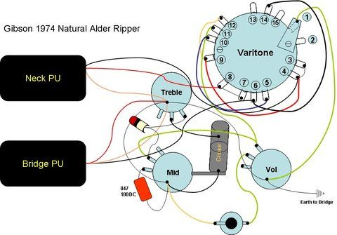wiring diagram for 1974 gibson ripper old shape alder boody see rh pinterest com