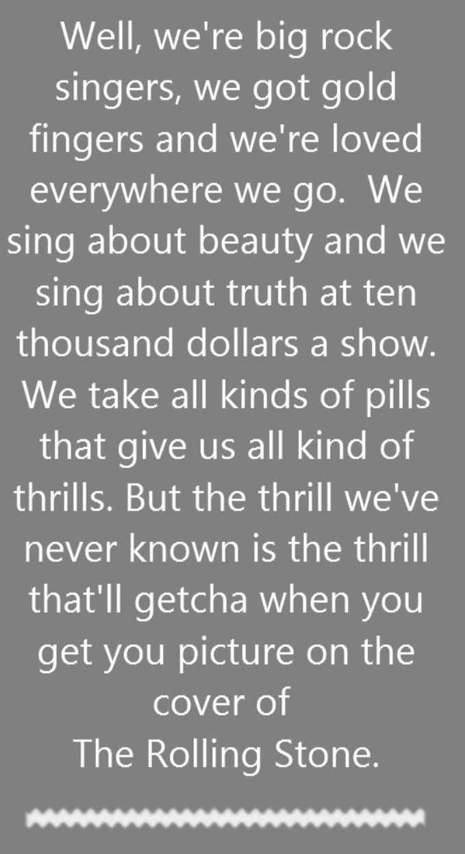 Dr Hook & The Medicine Show - Cover of the Rolling Stone - song lyrics, song quotes, songs, music lyrics, music quotes,