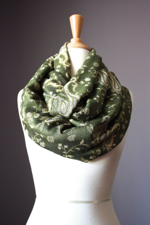 Paisley pashmina Scarf  infinity  scarves  Green by ScarfObsession