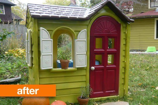I think I may have to start looking for one of these! Before & After: Little Tikes Plastic Playhouse Paint Job Thank you Apartment Therapy!