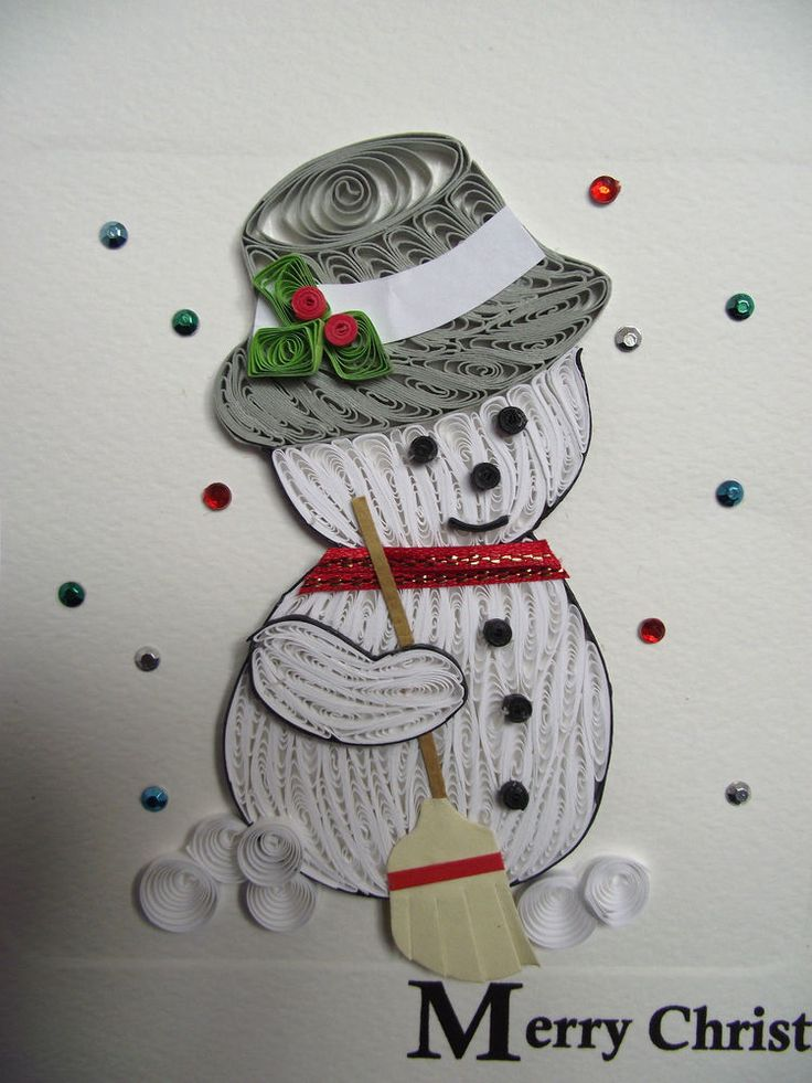 Sweeping Snowman Quilling Christmas Card Super Fun, Happy Xmas Greeting Card